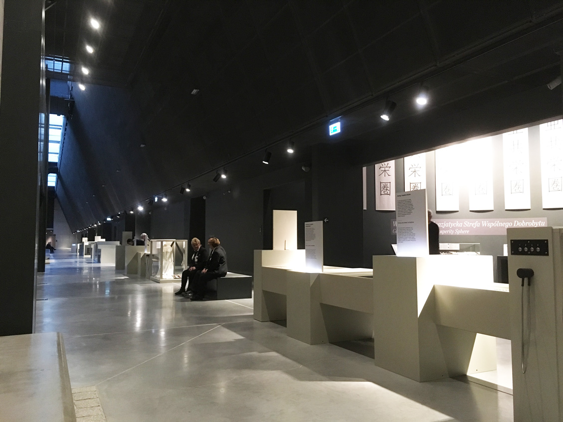 The main corridor inside the exhibition hall of the Museum of the Second World War in Gdansk Poland