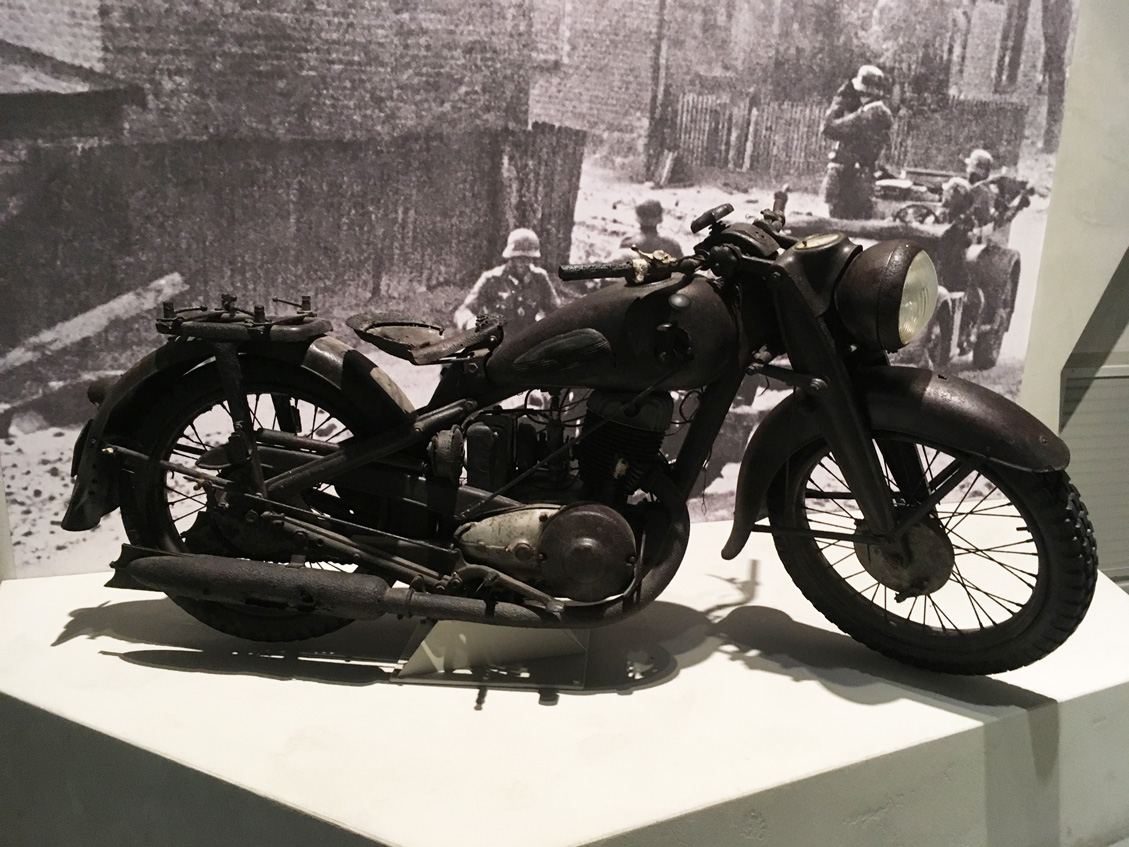 A military motorcycle on display in the Museum of the Second World War in Gdansk Poland