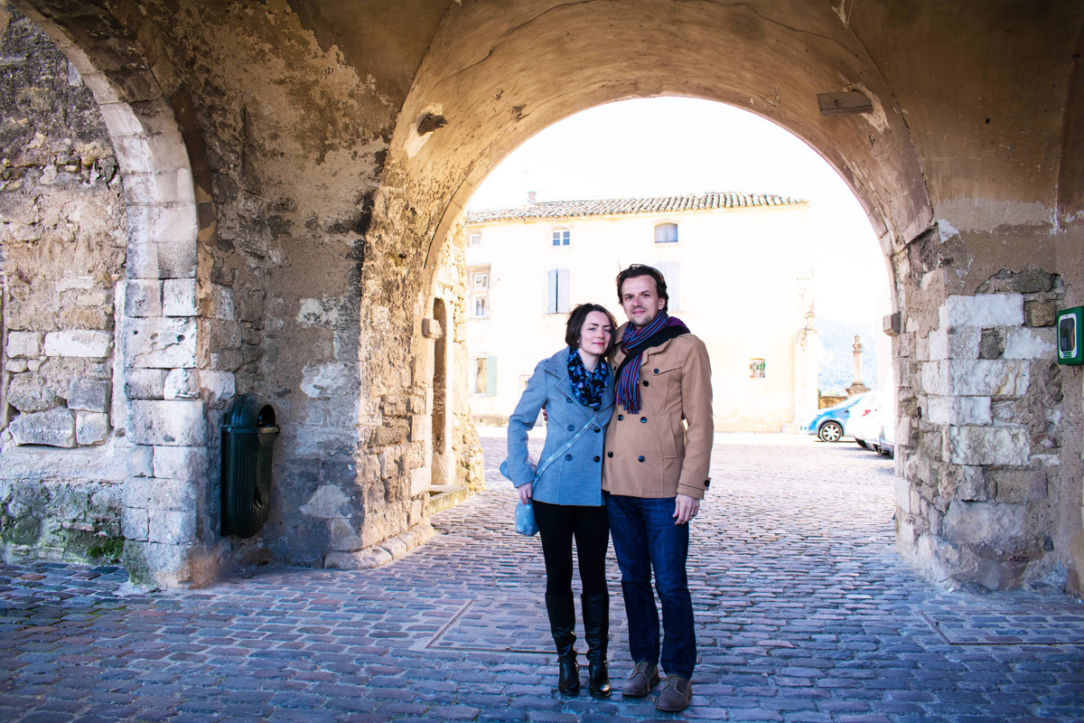 The plentiful rock walls in Ménerbes meant we could actually get a photo of us together!