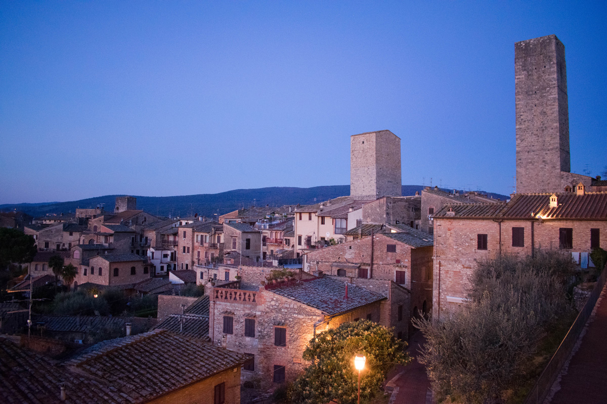 Evening view from our hotel balcony in San Gimignano