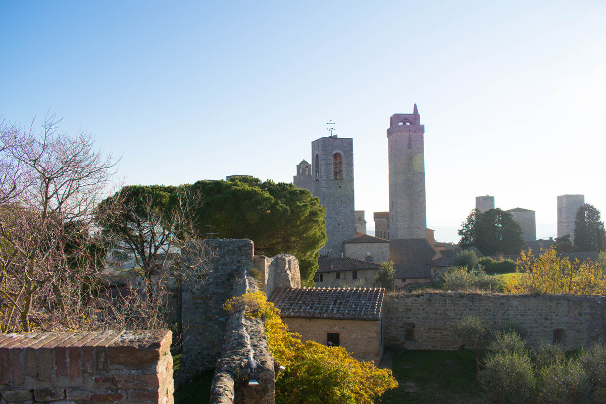 View looking in from the city walls in San Gimignano