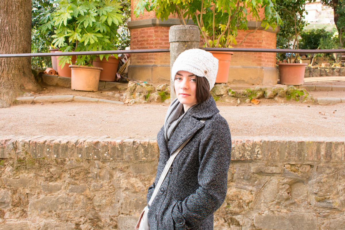 Delisa trying to stay warm in Montalcino despite the icy winds!