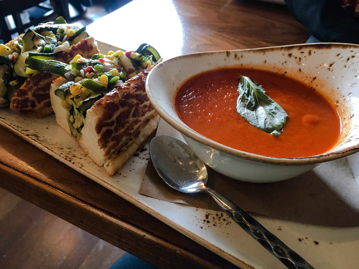 Grilled Zucchini Sandwich and Tomato Soup At The Attic in Salish LOdge