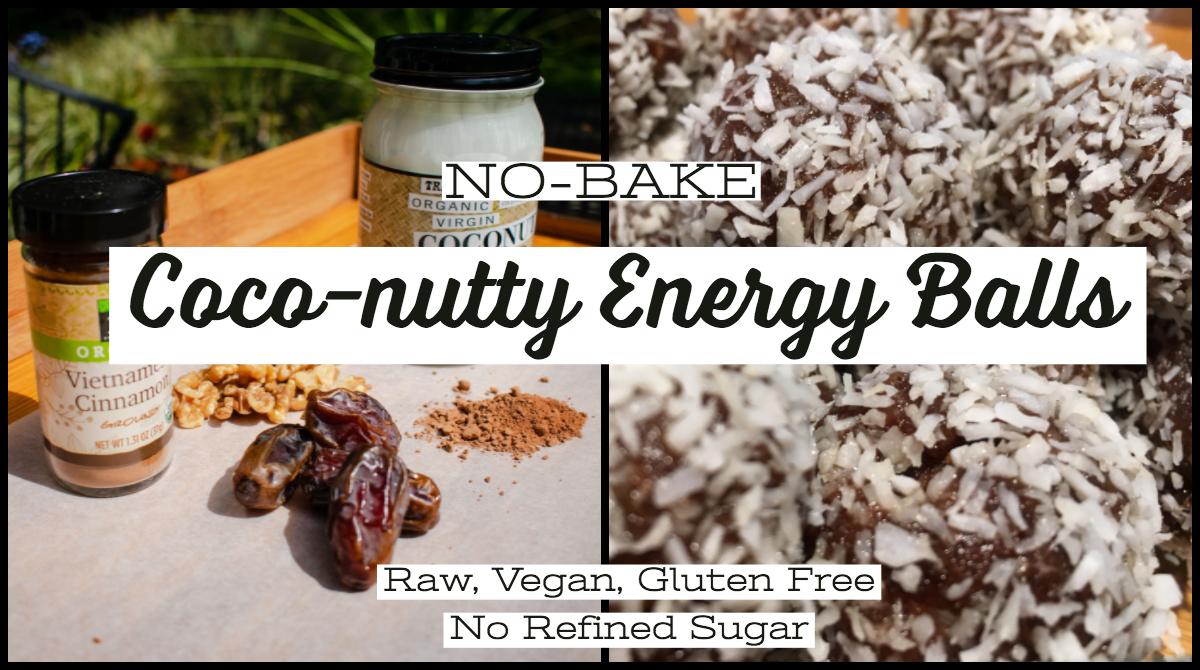 No-Bake Coco-nutty Energy Balls - Raw, Vegan, Gluten Free, No Refined Sugar
