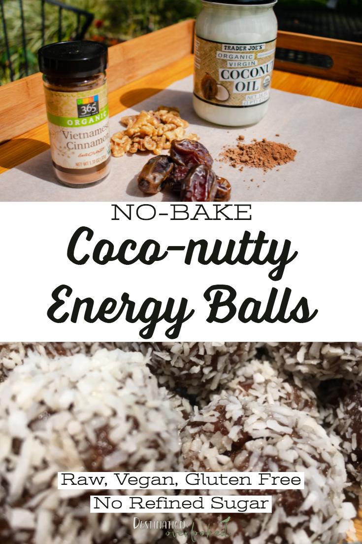 No-Bake Coco-Nutty Energy Balls - Raw, Vegan, Gluten Free, No Refined Sugar #nobake #paleodessert #dates