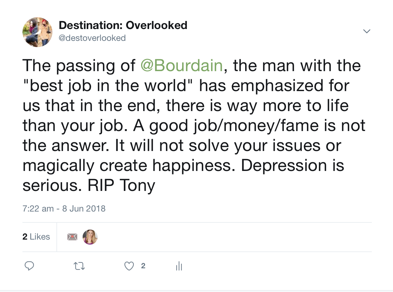Destination Overlooked Anthony Bourdain Tweet