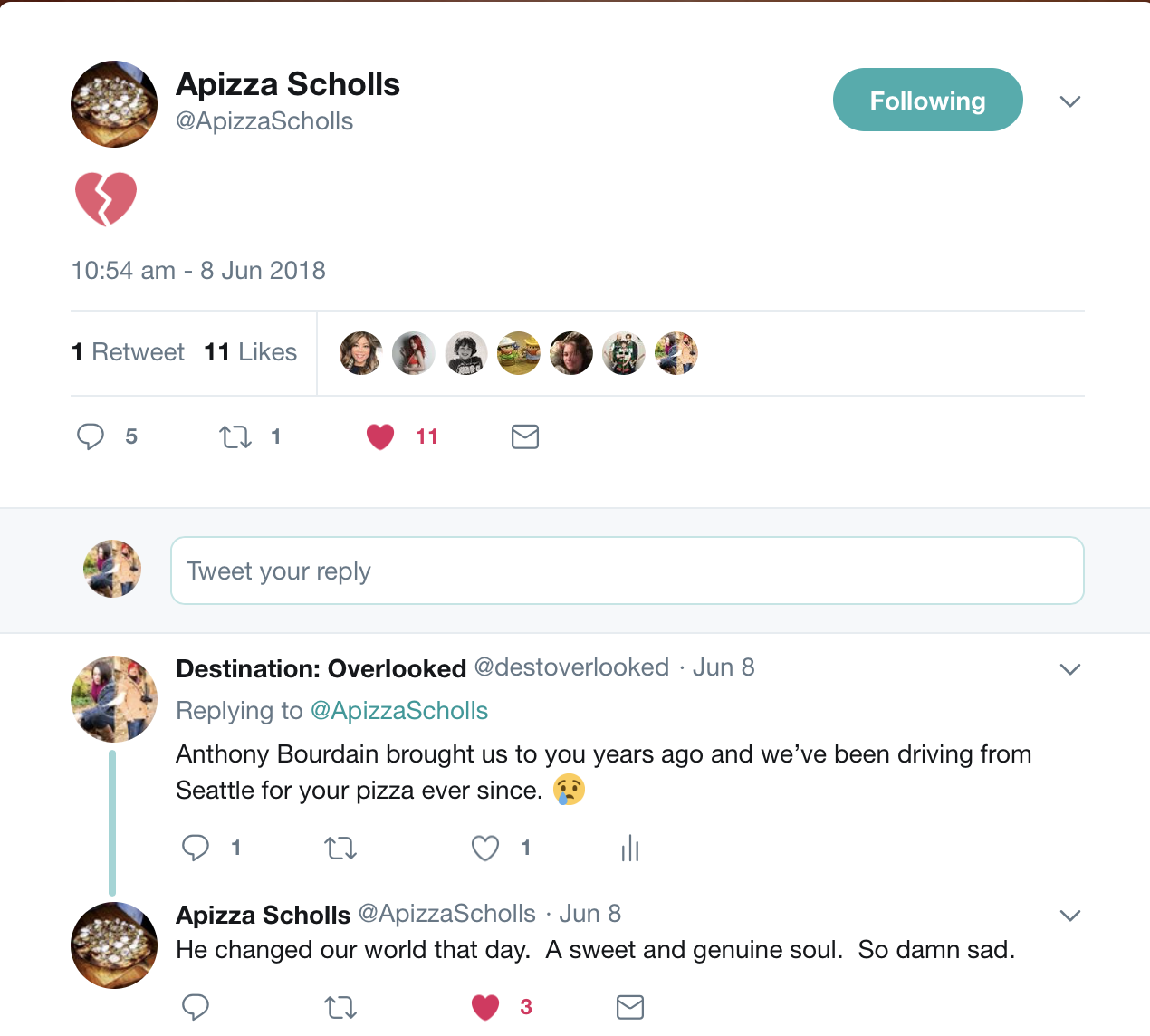 Apizza Scholls Anthony Bourdain Tweet