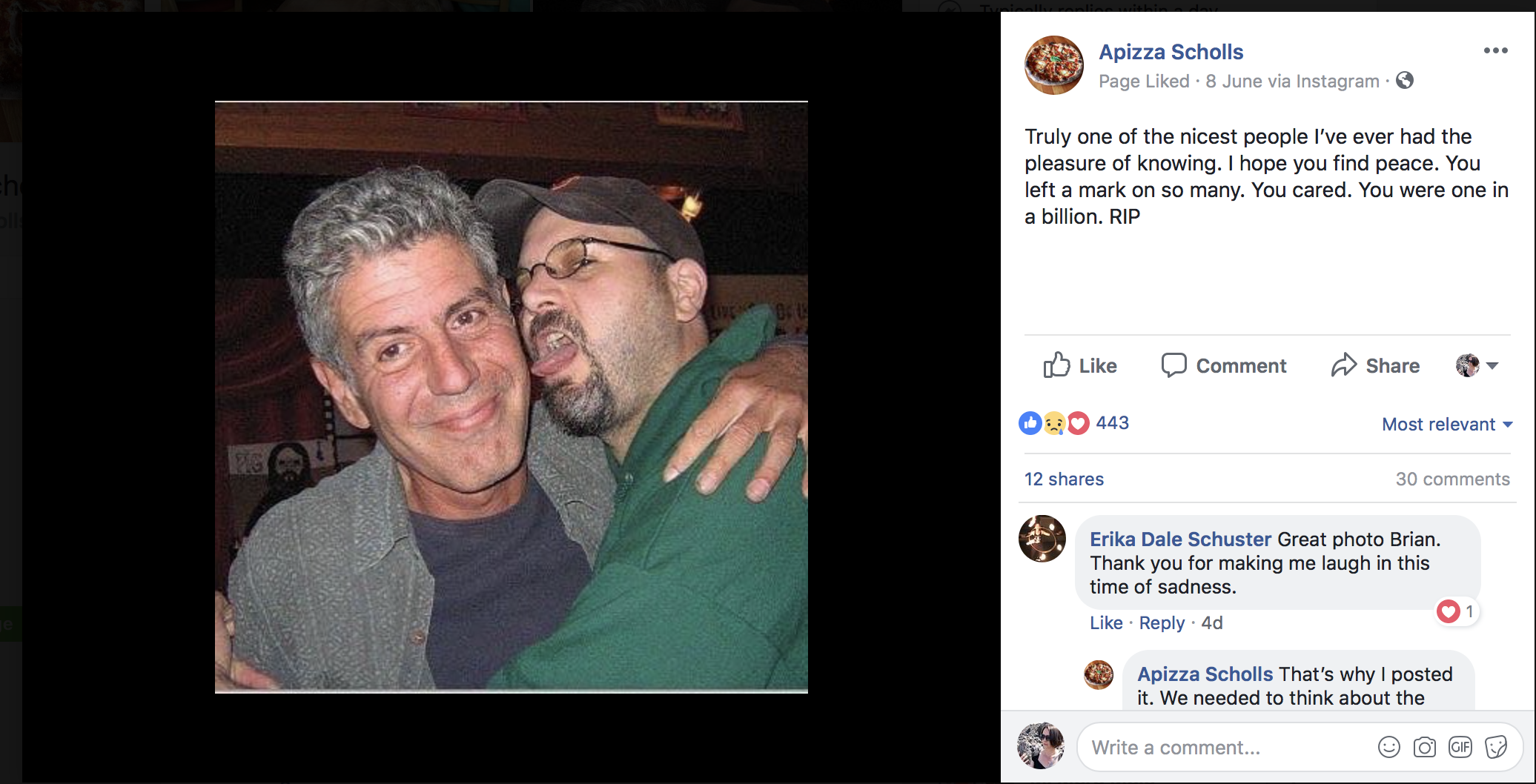 Apizza Scholls Anthony Bourdain Brian
