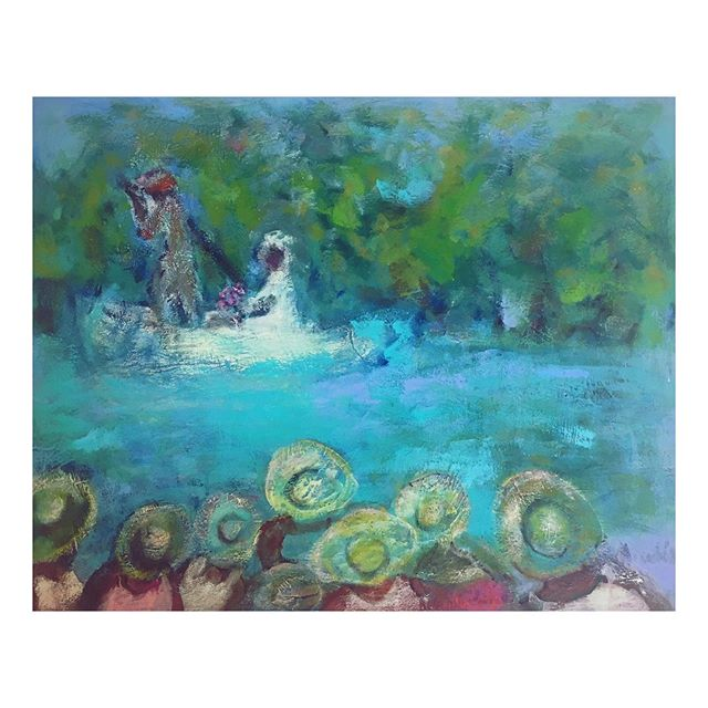 "Betty Murchison, ""The Bride"", 2016. Make an appointment to come through and see this piece or other hazy, vibrant scenes from her emotive body of work. . . . #painting #bettymurchison #internationalvisionsgallery #bride #2016 #workofart"