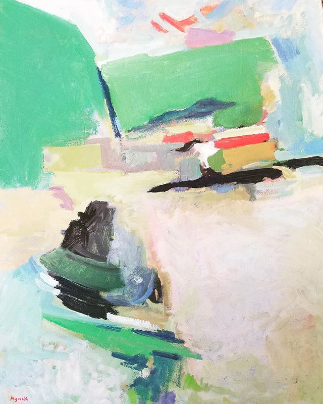 "New works are up on the shop! See: Richard Myrick - ""Wooden Boat Place 3"" - 28"" x 22"", #oiloncanvaspainting #abstractpainting #internationalvisionsgallery"