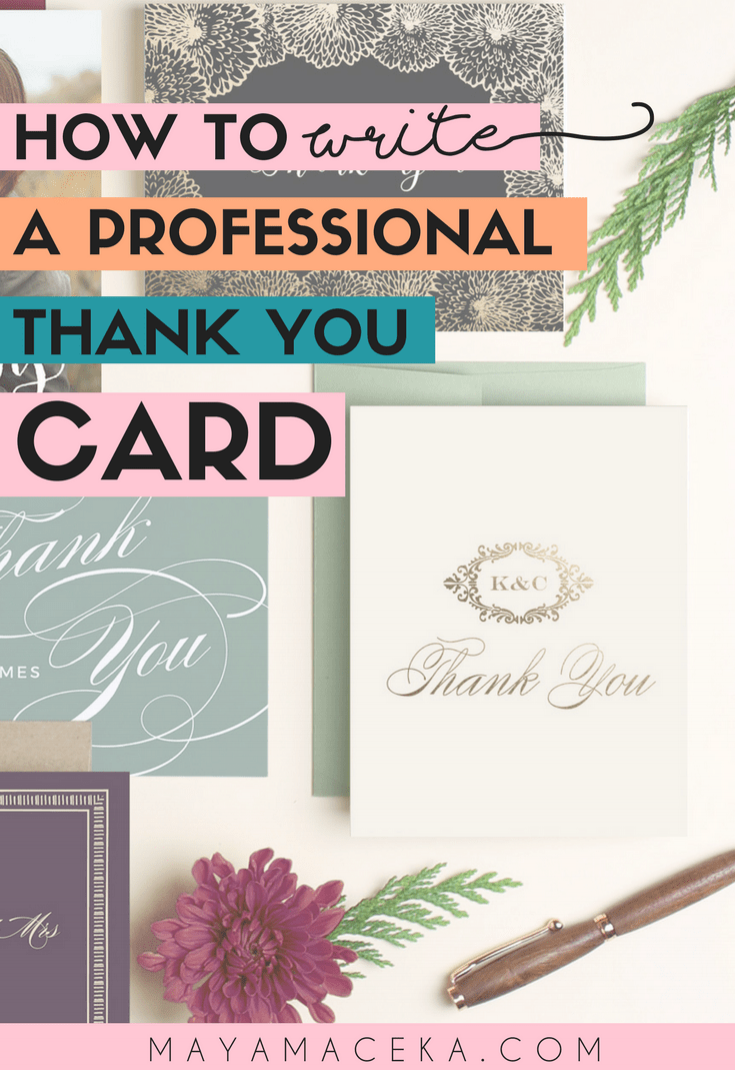 how to write a professional thank you card