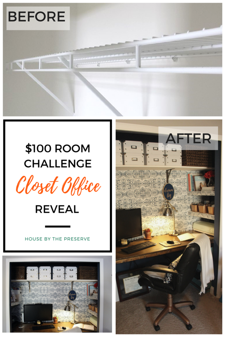 $100 room challenge closet office reveal