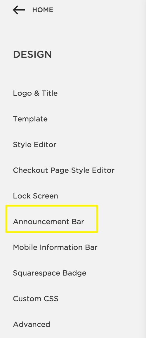 announcement bar squarespace