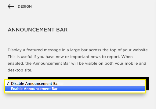 enable announcement bar in squarespace