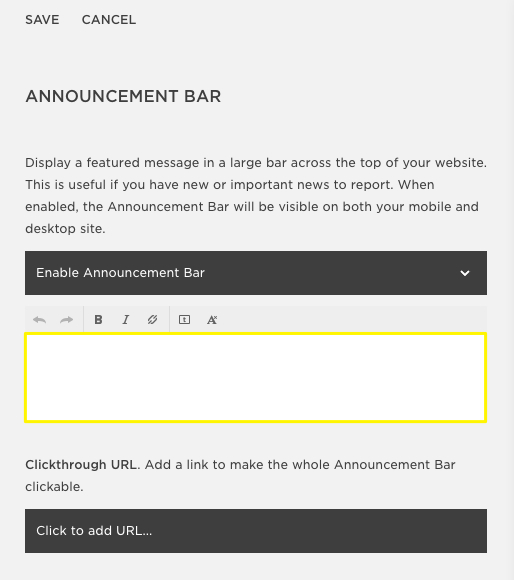 announcement bar text in squarespace