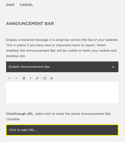 link your freebie announcement bar in squarespace
