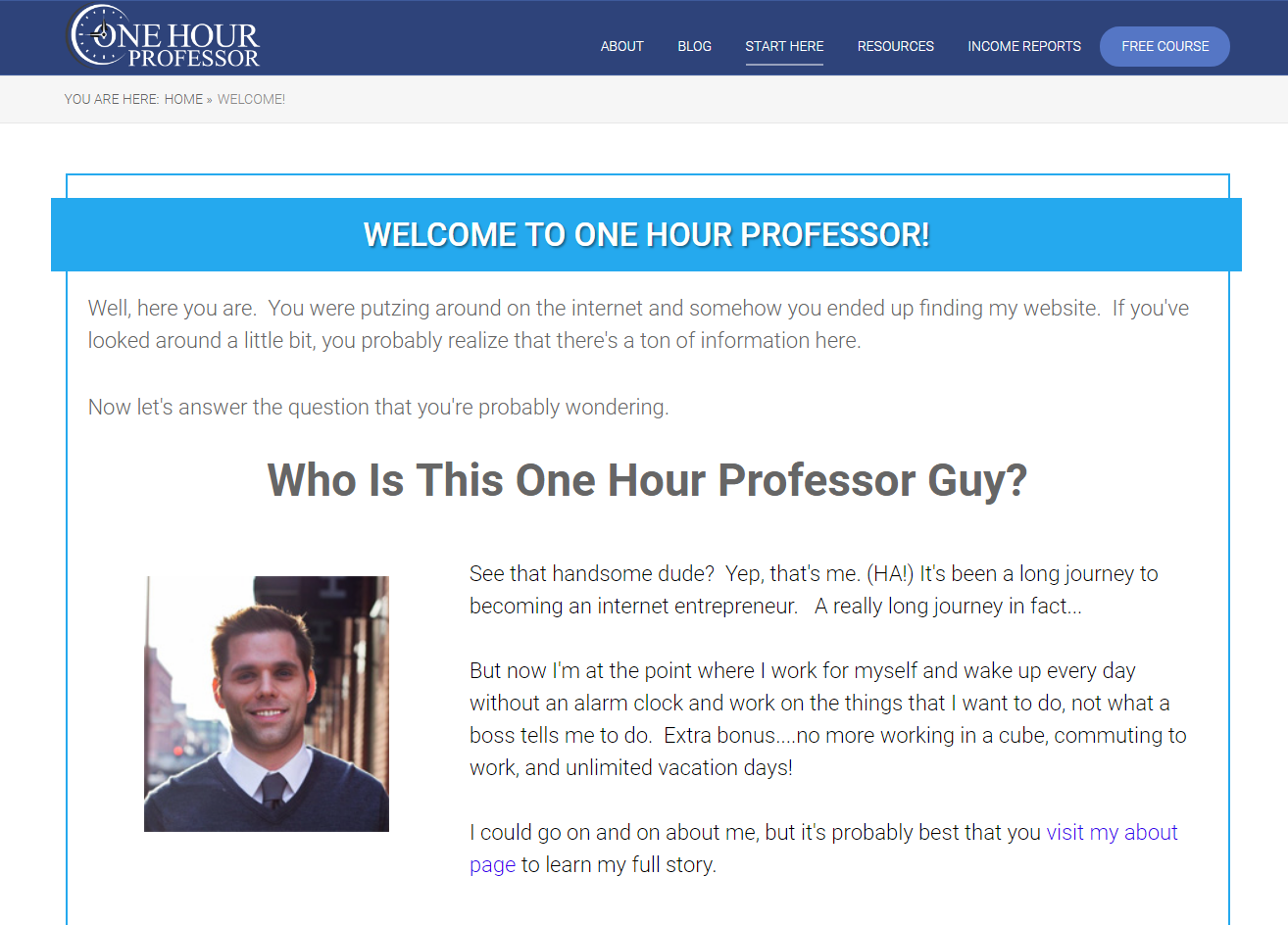 one hour professor start here