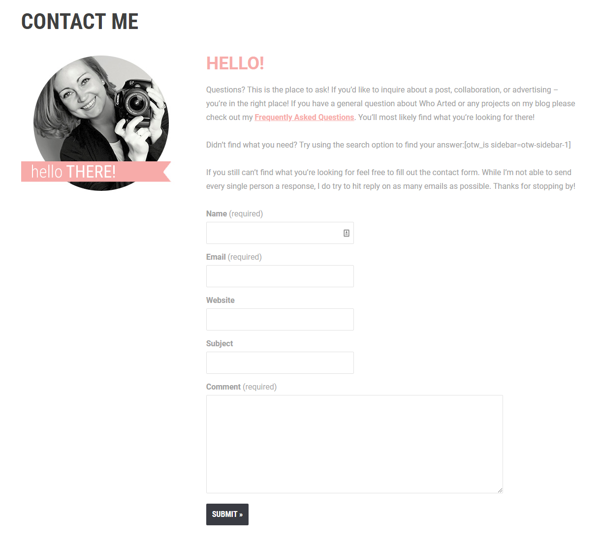 Who Arted contact page