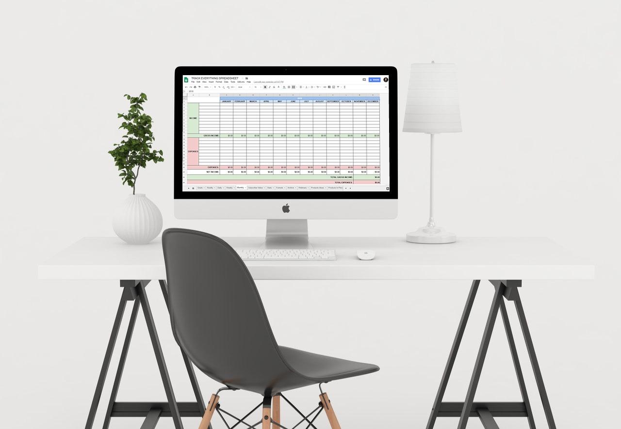 track everything spreadsheet mockup