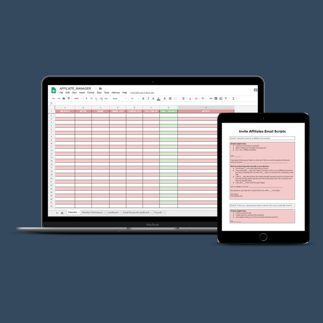 AND…I HAVE A SPREADSHEET THAT HELPS YOU MANAGE YOUR AFFILIATES… - …so they can work better to make YOU more money!