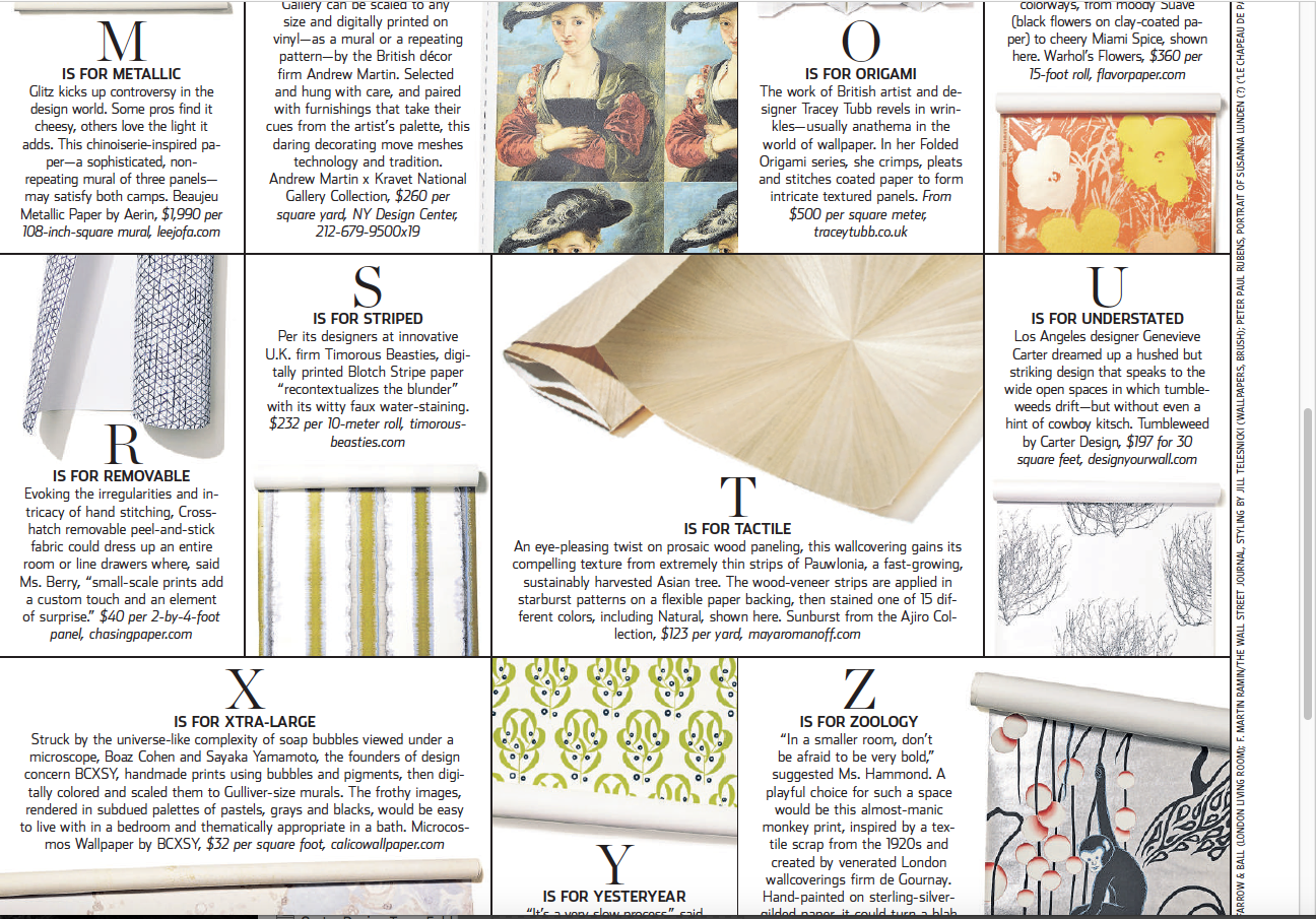 Thank you Wall Street Journal for including the Tumbleweed Wallpaper in your selection of wallpapers. You can read the article  here