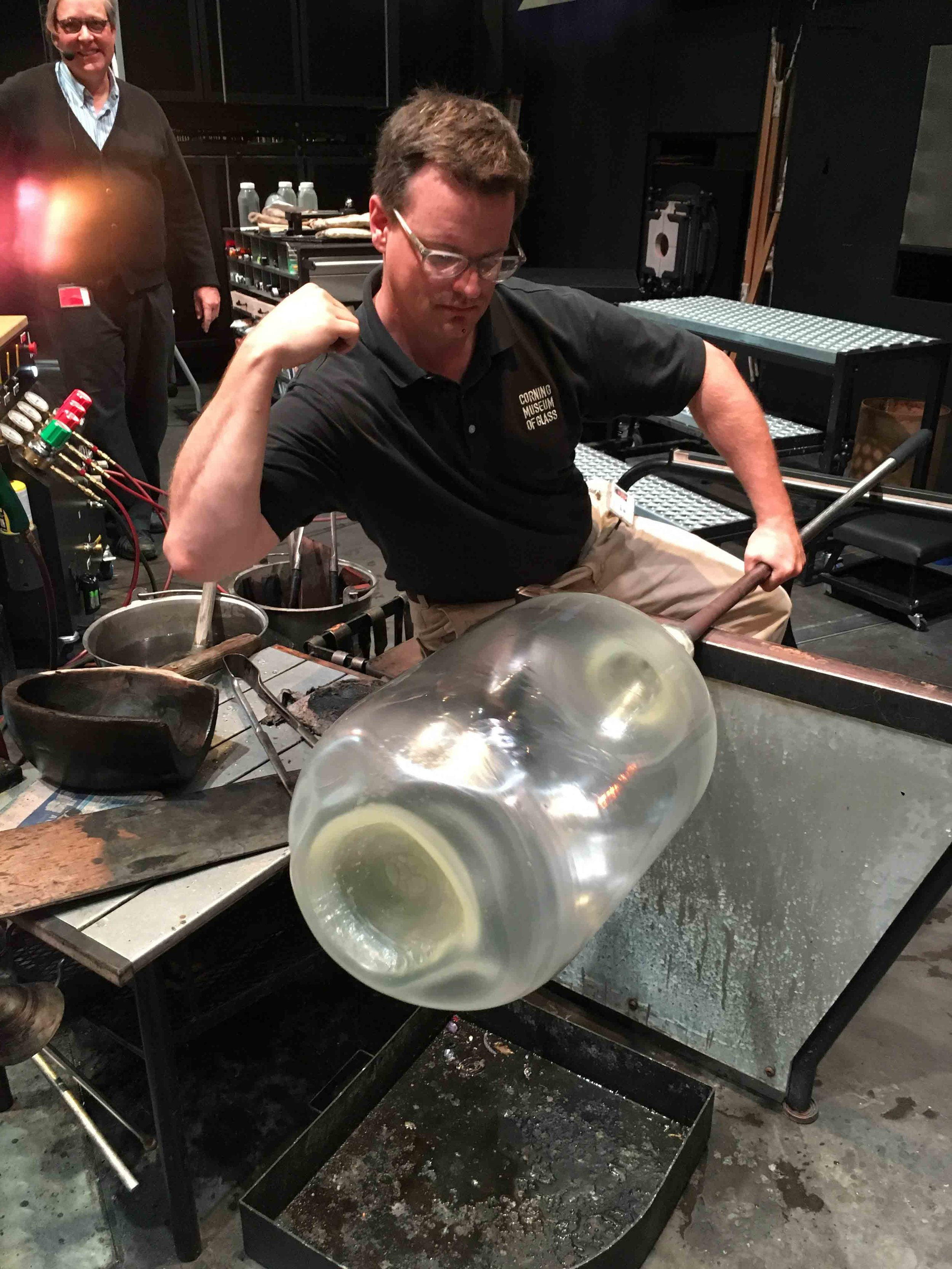 Jeff Mack with a blown form for round sections. Dr. Jane Cook, Chief Scientist at the Museum in the background