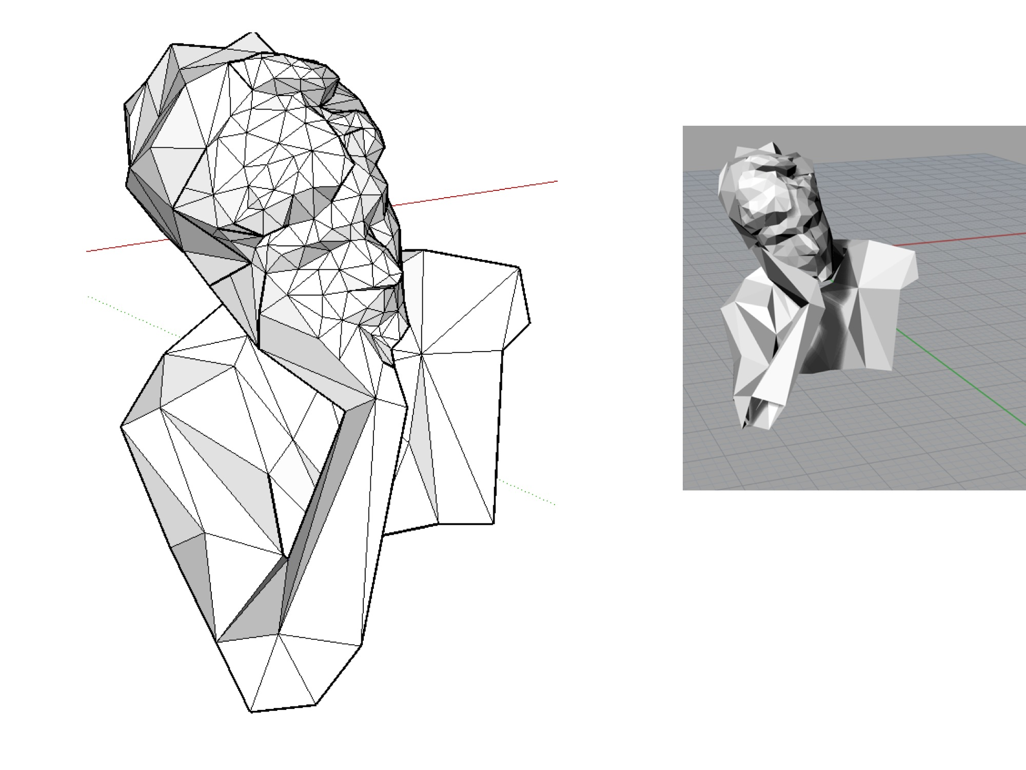 3d scan of Kieran, with reduced polygon mesh parts for cutting and assembly