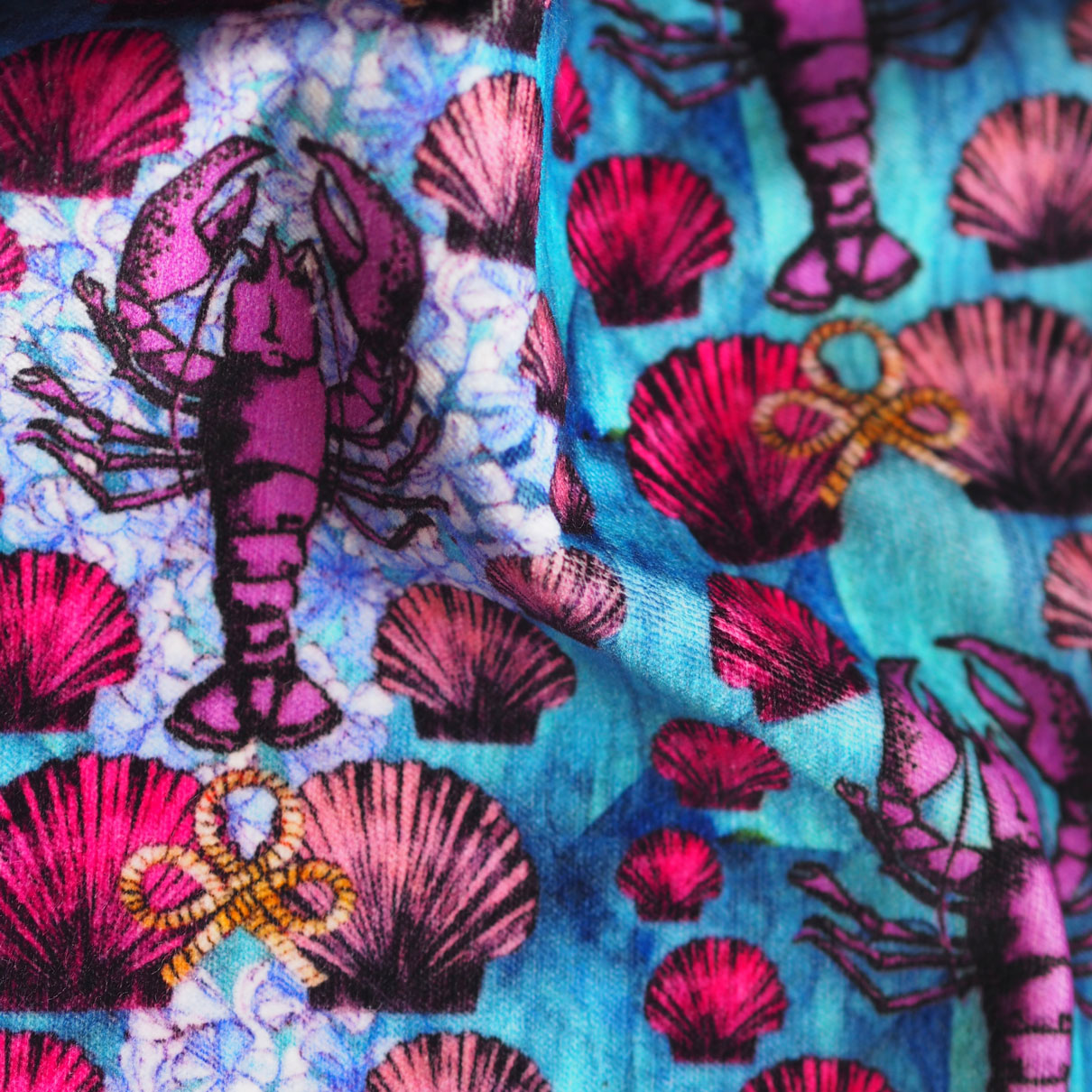 Lavish Lobster Repeat - Printed to Order on Cotton Velvet -  Shop Now