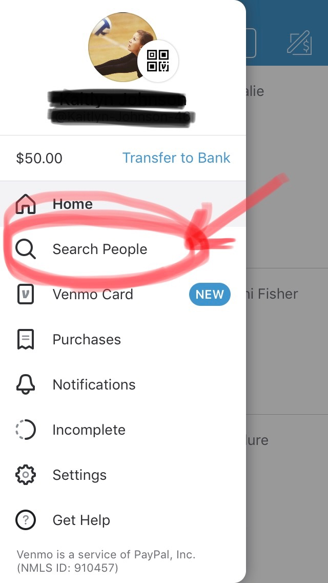 """Here is your options that will pop up after you click on the three lines from the home screen. On this page, click on """"search people"""" to type in Idaho Peak Volleyball Club.  -"""