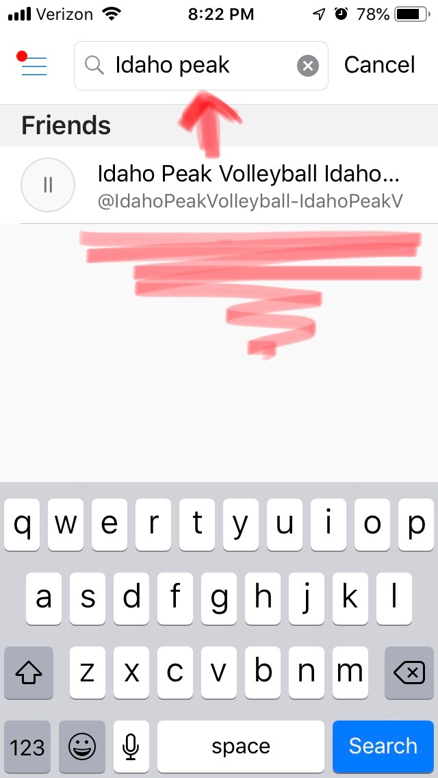 """Once you type Idaho Peak Volleyball Club into the """"search people"""" bar, you will see this icon pop up under Friends. This is Idaho Peak's Venmo to follow! Click on the icon.  -"""