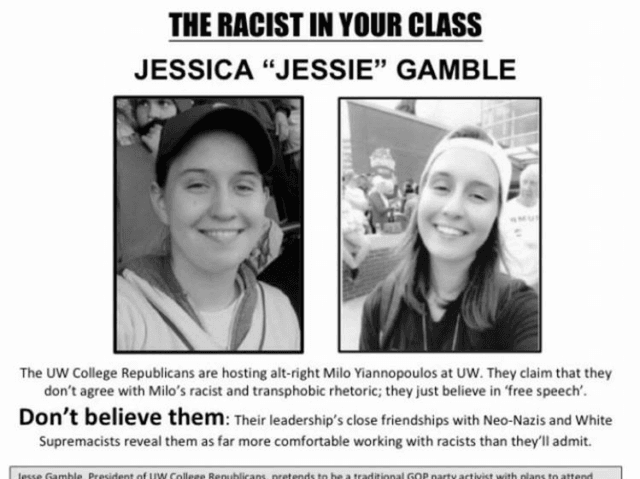 University of Washington Leftists Harass, Post 'Racist In Your Class' Flyers of Republican President's Face for Inviting MILO -