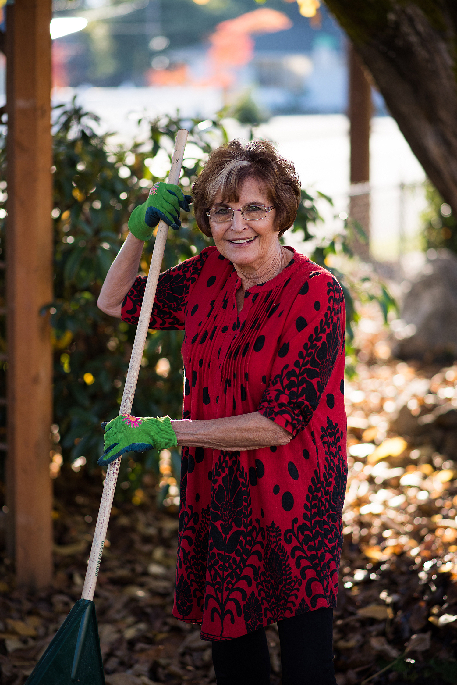 Patient Joanne Williams back at work in her yard.
