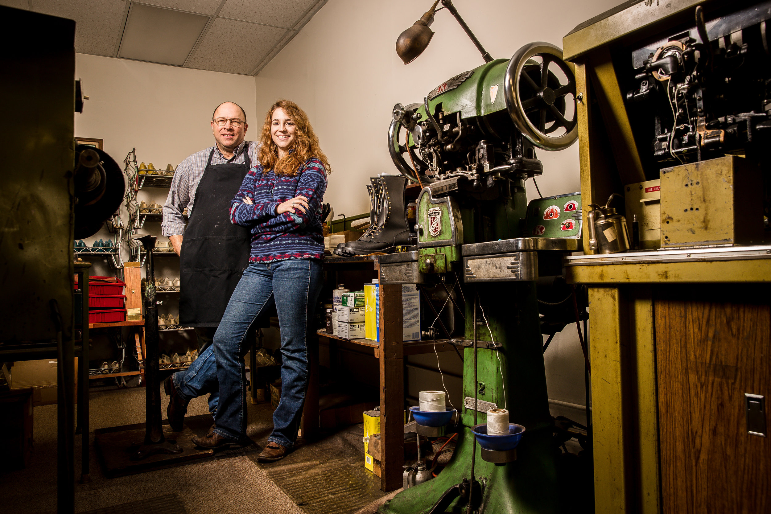 Bill Clemons and his daughter, Libby, who hopes to carry on the family boot business.