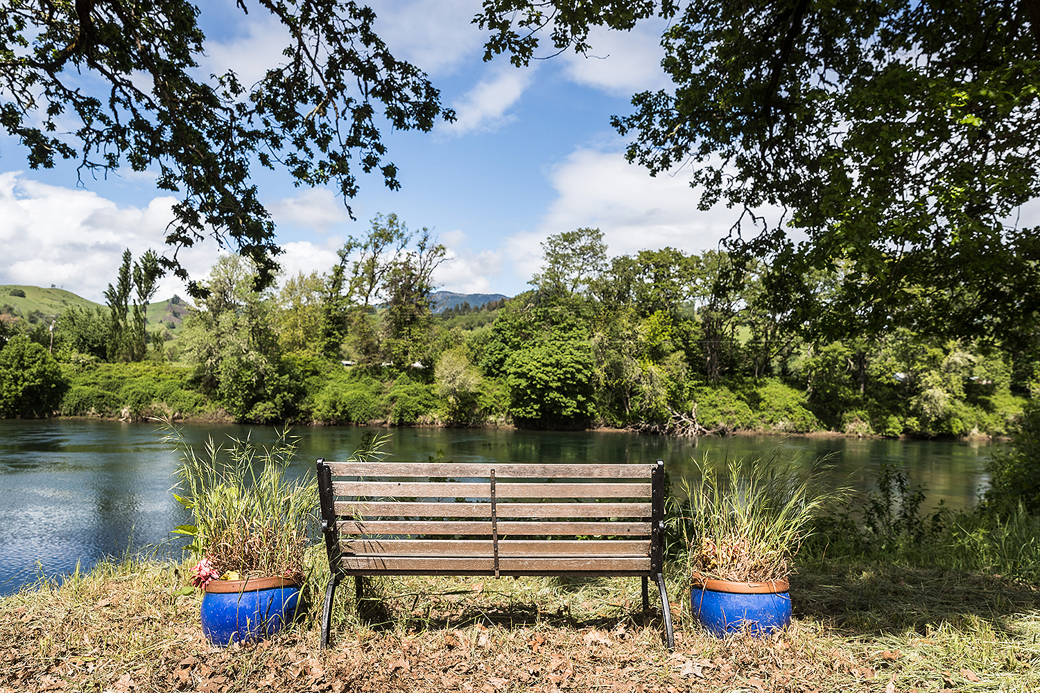 Day trippers can enjoy the view along Wild River Drive from a bench placed by a local homeowner.