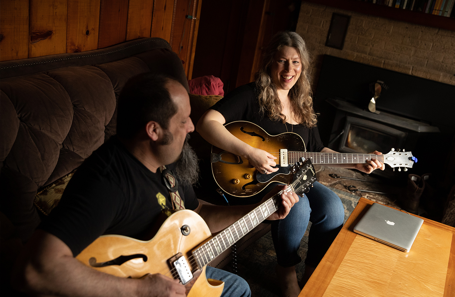 Ruth and husband/guitarist Johnny Leal at home.