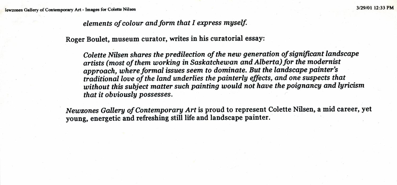 2001 Roger Boulet essay