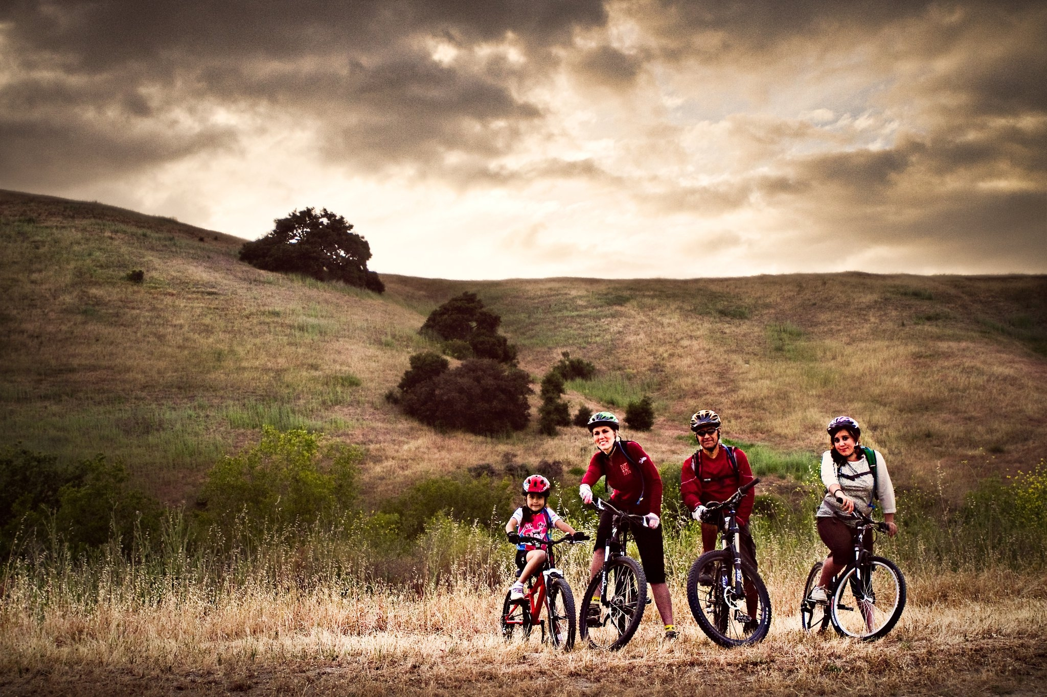Family of four enjoying the view and cycling together