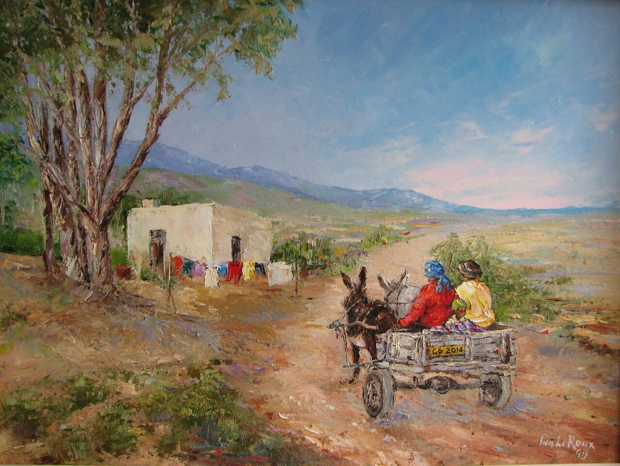Painting of two locals riding a donkey cart
