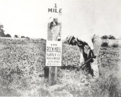 Roadside sign advertising the Rock Hill Supply Co