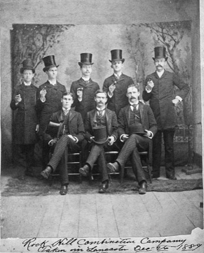 """Image of the Rock Hill Combination Co., """"Singers"""", pictured as a group in Lancaster Co., S.C., 1889. It is believed these men often performed at the hall in Rock Hill. (Courtesy of the Ratterree Collection) 2017"""