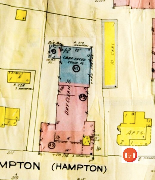 The original location of the Baptist church, on Hampton Street, became significantly altered in the 20th century.  Sanborn Insurance Map 1926 – 1959, courtesy of the Galloway Map Collection.