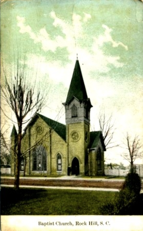 Postcard view of the First Rock Hill Baptist Church on Hampton Street