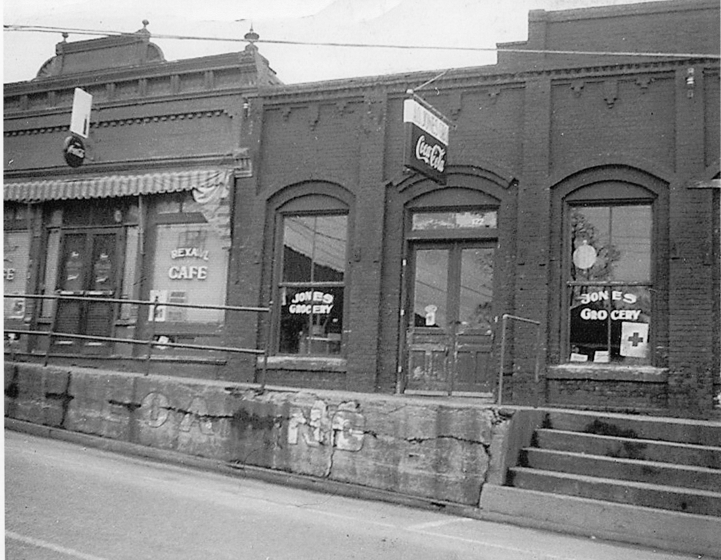 "Jones Grocery shown on the right. An ad on April 21, 1921 stated, ""Good things to eat."" Groceries, market and country produce....(Fort Mill Times)"