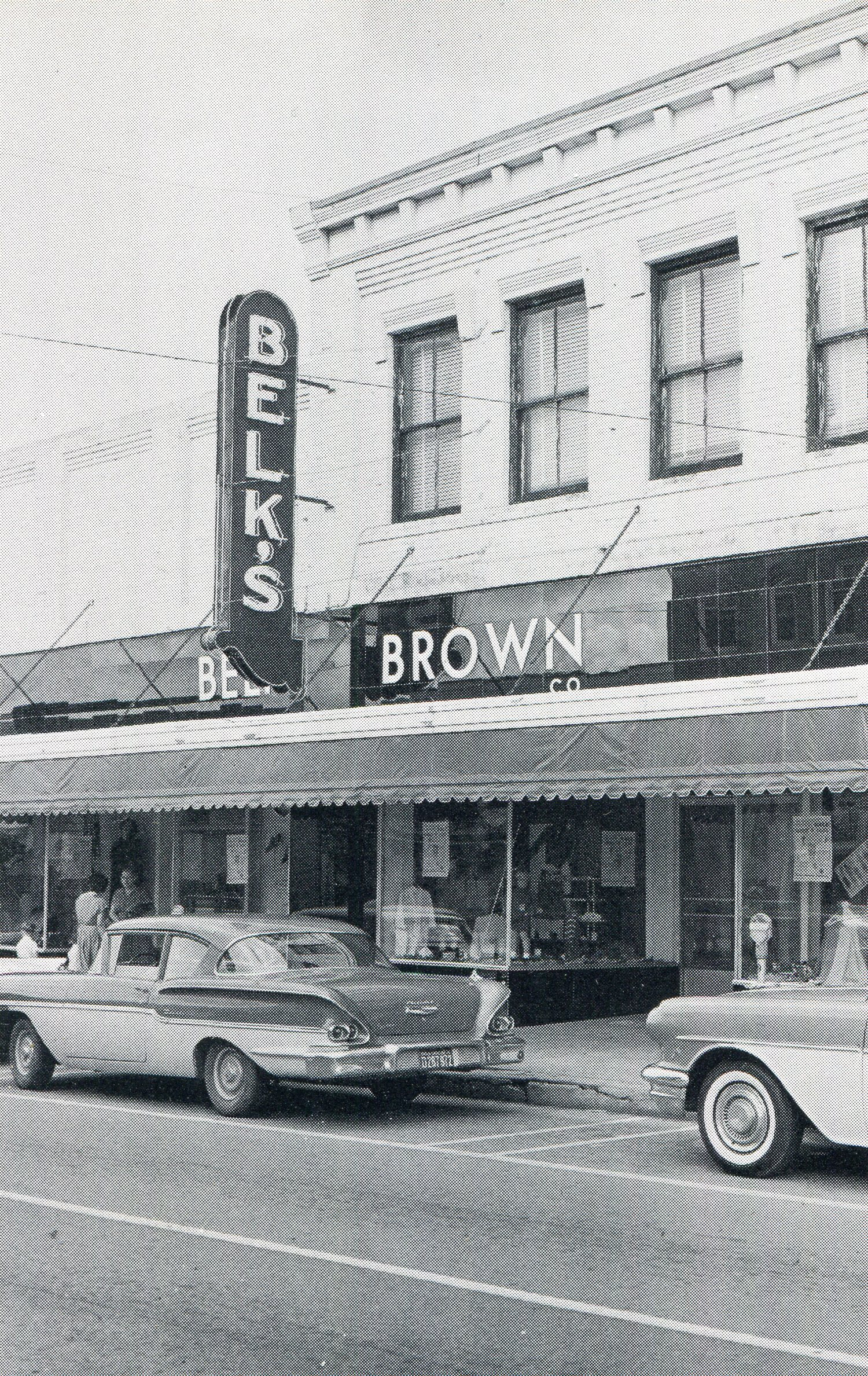 Belk Brown marquee spanning both buildings at 225 and 227 Main Street