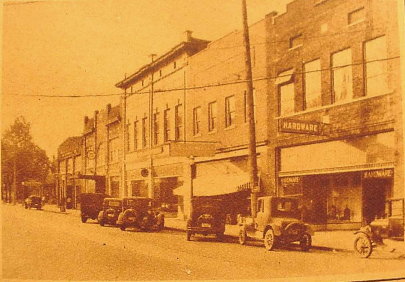 East Main Street in ca. 1920s, McFadden Motor Co., far left.