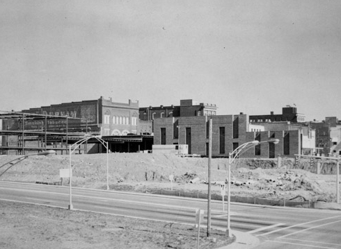 View of Dave Lyle Blvd., and the demolished areas, which once were, South and North Trade Streets. The last store remaining on the South side of Main on the west-side was that of the Rock Hill Hardware Company. Image taken in ca. 1970s.