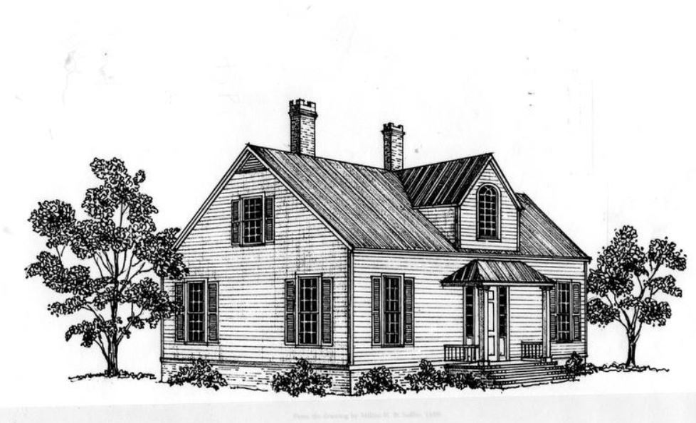 Sketch of the original parsonage by architect, Mr. Milton Sadler.