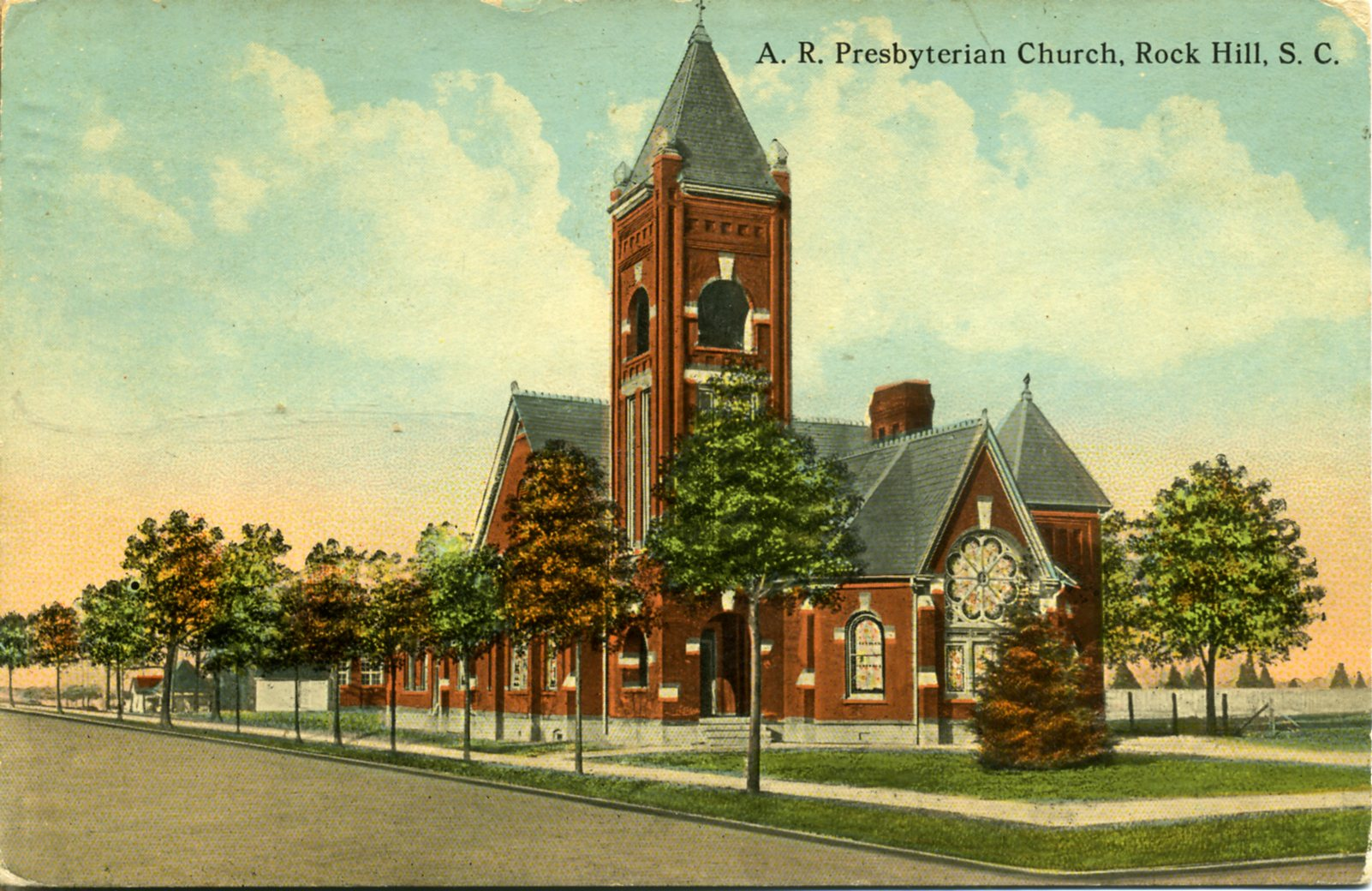 Early postcard view of the First ARP Church of Rock Hill