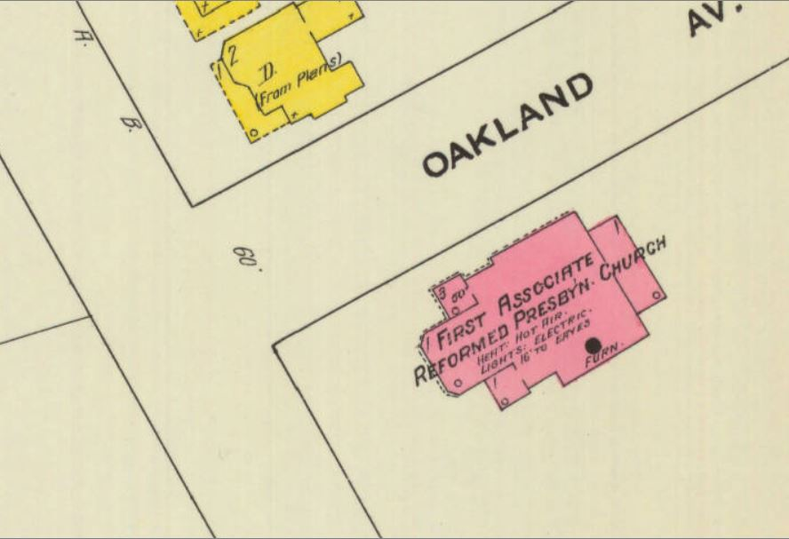 1910 Sanborn Insurance Map diagram of the ARP Church. Note that Oakland Ave., at that time did not extend past East White Street.