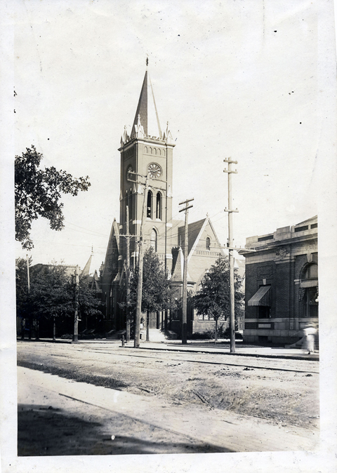 The 3rd location of St. John's Methodist Church was on the corner of East Main and Caldwell streets.